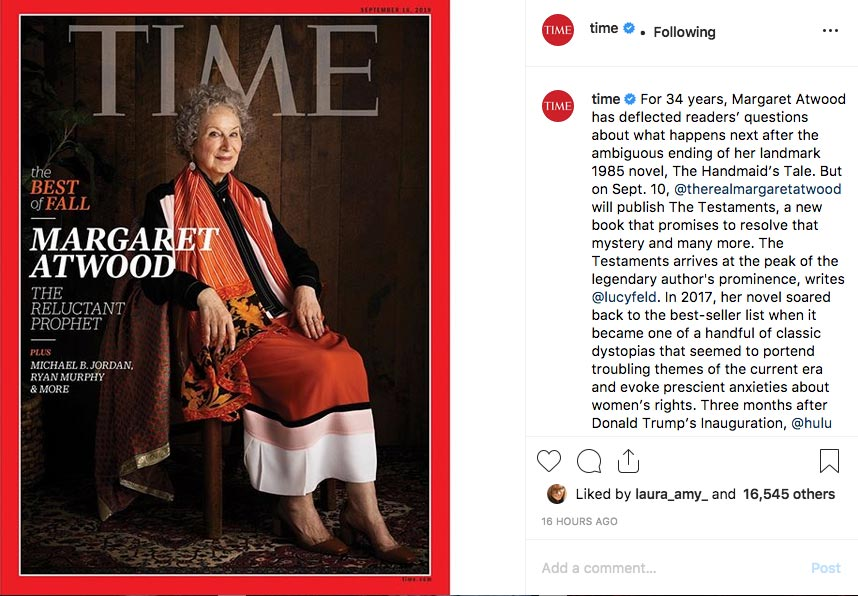 Instagram of Margaret Atwood's new novel and TV seriles