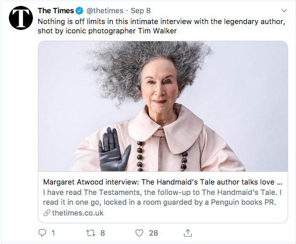 Tweet featuring Canadian author Margaret Atwood