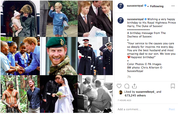 Screenshot of @sussexroyal Instagram post for Prince Harry's 35th birthday