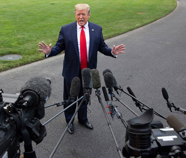 Donald Trump is once again fighting for his political life as Democrats launch an impeachment inquiry related to a phone call he made to Ukrainian President Volodymyr Zelensky. (Photo: Michael Reynolds/EPA-EFE/Shutterstock)