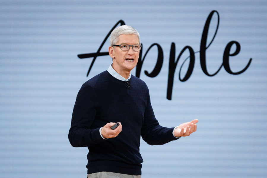 Tim Cook, Chief Executive Officer of Apple Inc., speaks during the launch event for the iPad 6 at Lane Technical College Prep High School in Chicago, Illinois, U.S., March 27, 2018.