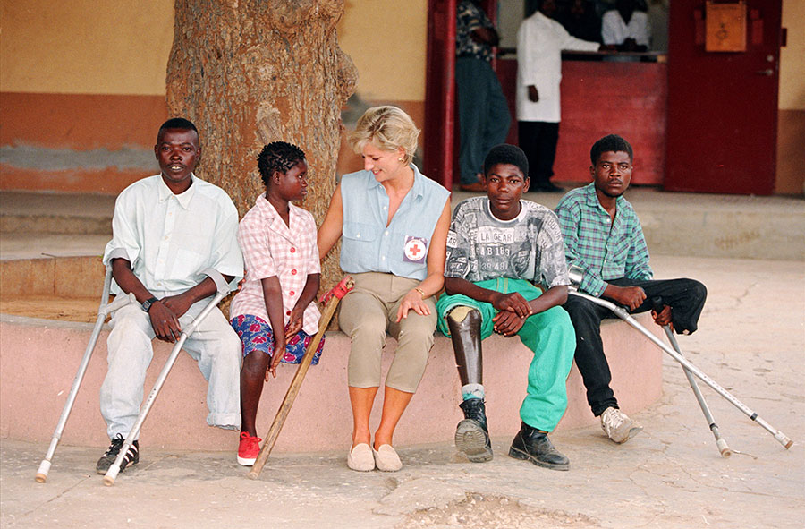 Diana, Princess of Wales with landmine victims