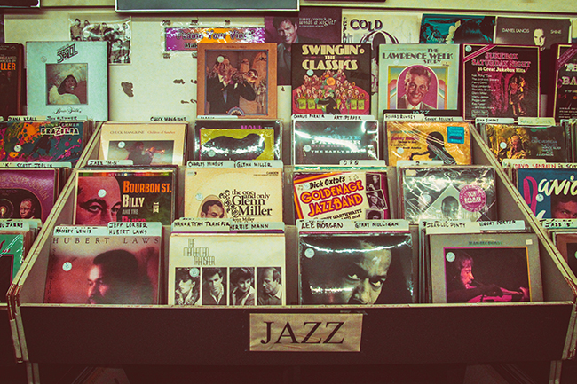 An assortment of Jazz records on display at a record shop.
