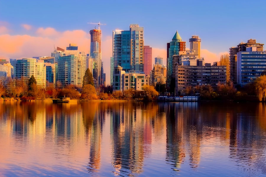 Vancouver skyline in fall.