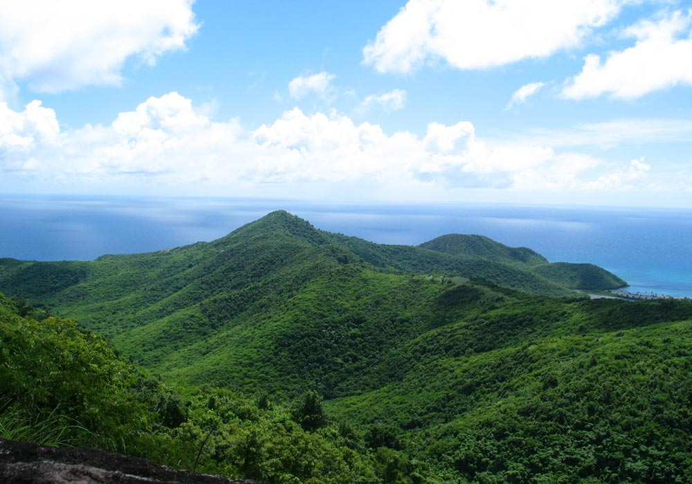 A view from the top of Signal Hill Trail at the Wallings Nature Reserve on Antigua.