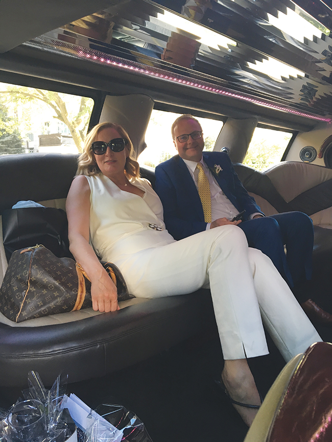 A photo of The author with her groom in the limo.
