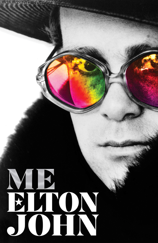 "The cover of Elton John's autobiography ""Me""."