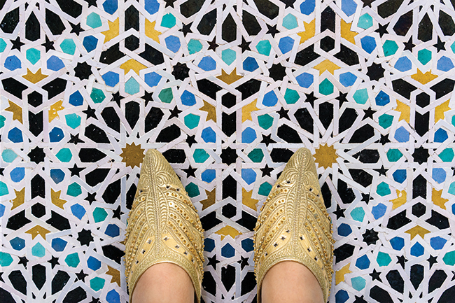 Leather slippers, or babouches designed for the Royal Mansour Hotel by Christian Louboutin.