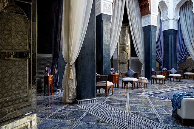 The lobby courtyard at the Royal Mansour Hotel.