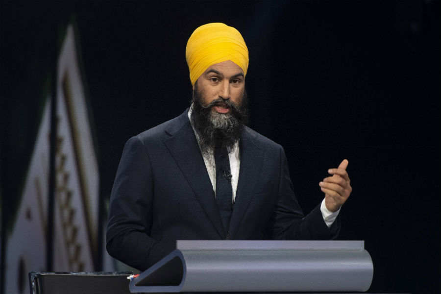 NDP leader Jagmeet Singh speaks during the Federal leaders debate in Gatineau, Que.