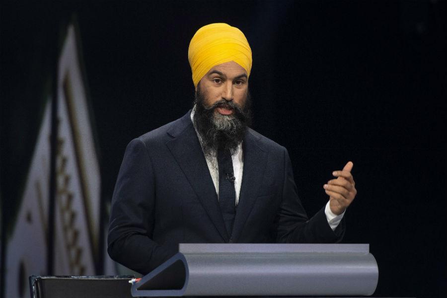 NDP leader Jagmeet Singh speaks during the Federal leaders debate in Gatineau, Que.