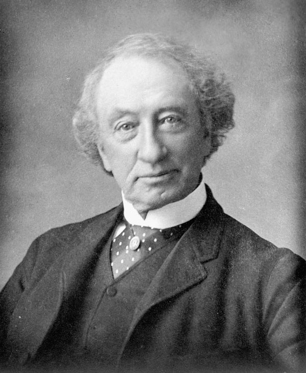 A black and white photo of John A. Macdonald, Canada's first Prime Minister.