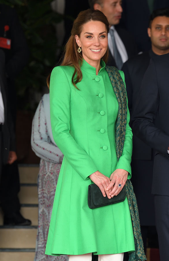Catherine, Duchess of Cambridge and Prince William, Duke of Cambridge pose after visiting the Prime Minister of Pakistan Imran Khan for an a official meeting at the Prime Minister's Official Residence on October 15, 2019 in Islamabad, Pakistan.