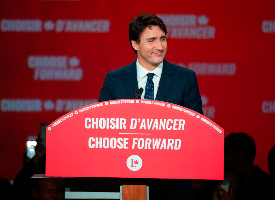 Prime minister Justin Trudeau delivers his victory speech at the Palais des Congres in Montreal.Photo: Sebastien St-Jean/AFP via Getty Images