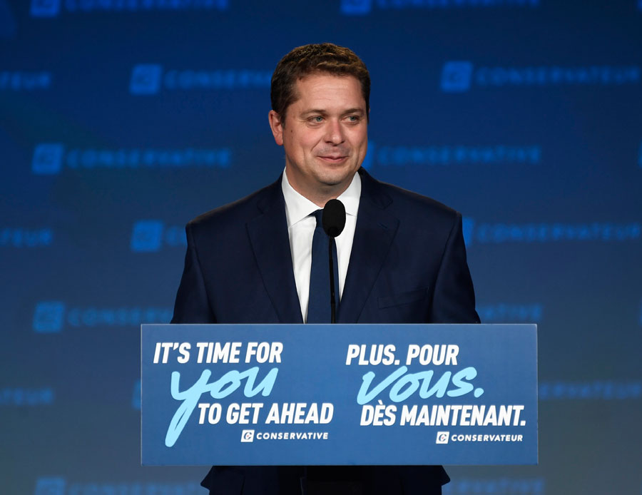 Conservative leader Andrew Scheer delivers his concessions speech on stage at Conservative election headquarters in Regina. Photo: The Canadian Press/Jeff McIntosh