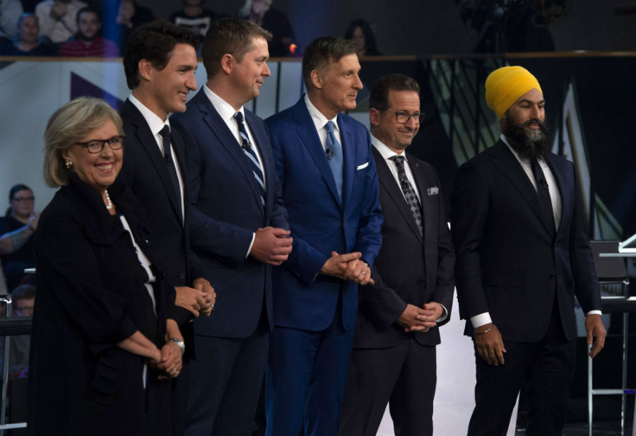 Federal party leaders Green Party leader Elizabeth May, Liberal leader Justin Trudeau, Conservative leader Andrew Scheer, People's Party of Canada leader Maxime Bernier, Bloc Quebecois leader Yves-Francois Blanchet and NDP leader Jagmeet Singh pose for a photograph before the Federal leaders debate.