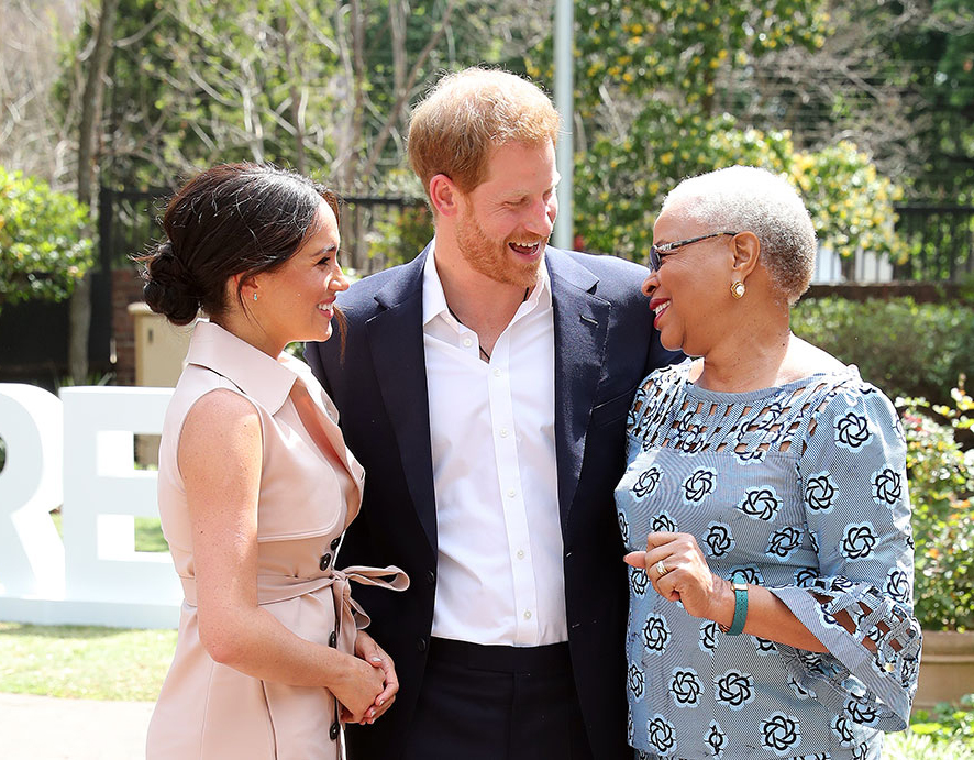 Prince Harry, Duke of Sussex and Meghan, Duchess of Sussex meet Graca Machel, widow of the late Nelson Mandela.