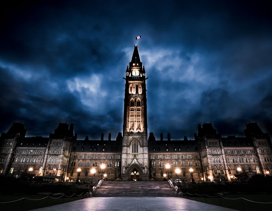 The Parliament building in Ottawa on an early morning.