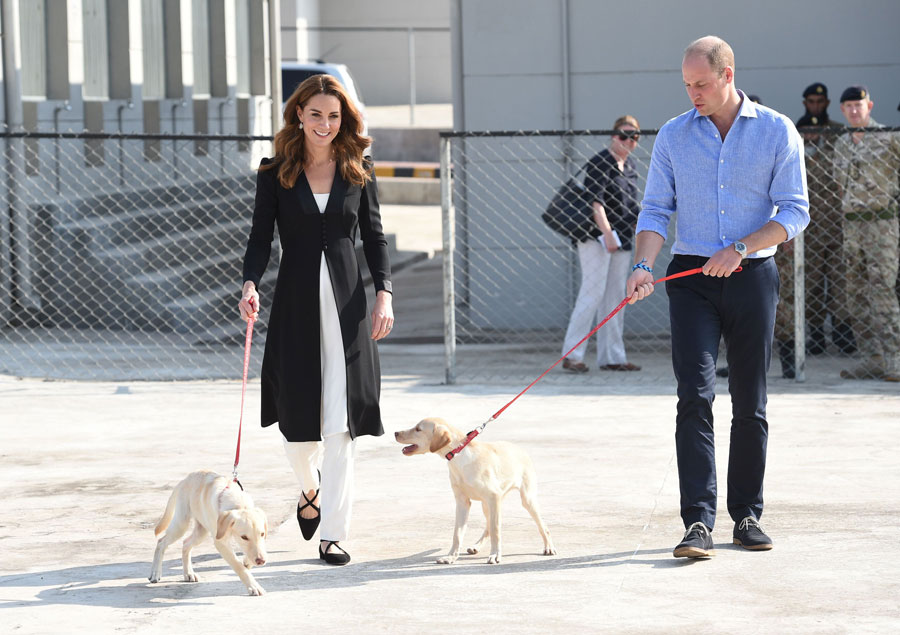 The Duke and Duchess of Cambridge visit an Army Canine Centre where the UK provides support to a programme that trains dogs to identify explosive devices.