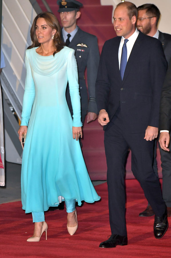 Prince William, Duke of Cambridge and Catherine, Duchess of Cambridge arrive at Pakistani Air Force Base Nur Khan in Rawalpindi, Pakistan