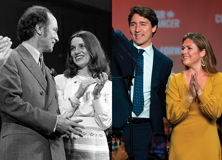 Maragaret Trudeau applauds after speech by Prime Minister Trudeau at an election rally in Hamilton On., Thursday night Oct. 26, 1972. Mrs. Trudeau joined on final days of campaigning for the Oct. 30 federal election. (CP PHOTO/ Peter Bregg). Prime minister Justin Trudeau and his wife Sophie Grégoire Trudeau wave to his supporters at the Palais des Congres in Montreal during Team Justin Trudeau 2019 election night event in Montreal, Canada on October 21, 2019. (Photo by SEBASTIEN ST-JEAN/AFP via Getty Images)
