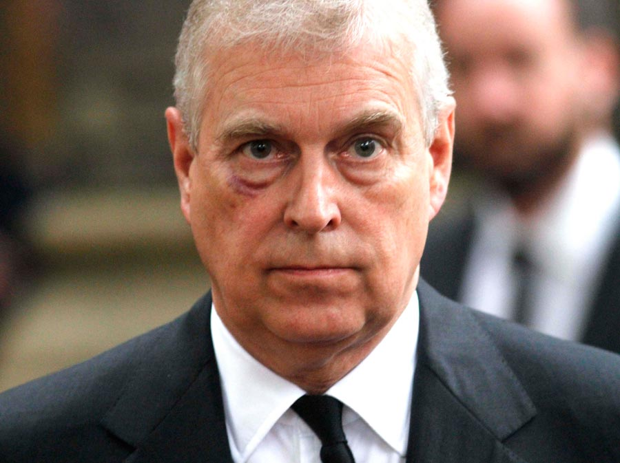 Prince Andrew, Duke of York leaves the funeral service of Patricia Knatchbull, Countess Mountbatten of Burma at St Paul's Church in Knightsbridge on June 27, 2017 in London, England. (Photo Mark Richards - WPA Pool / Getty Images)