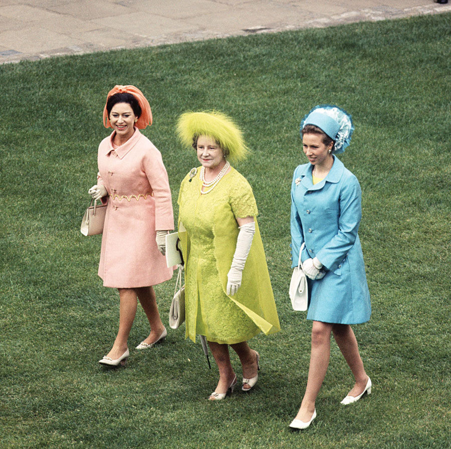Princess Anne, the Queen Mother and Princess Margaret at the investiture of Prince Charles as the Prince of Wales, 1969.