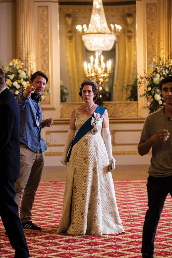 Behind the scenes of The Crown: Colman in full royal regalia