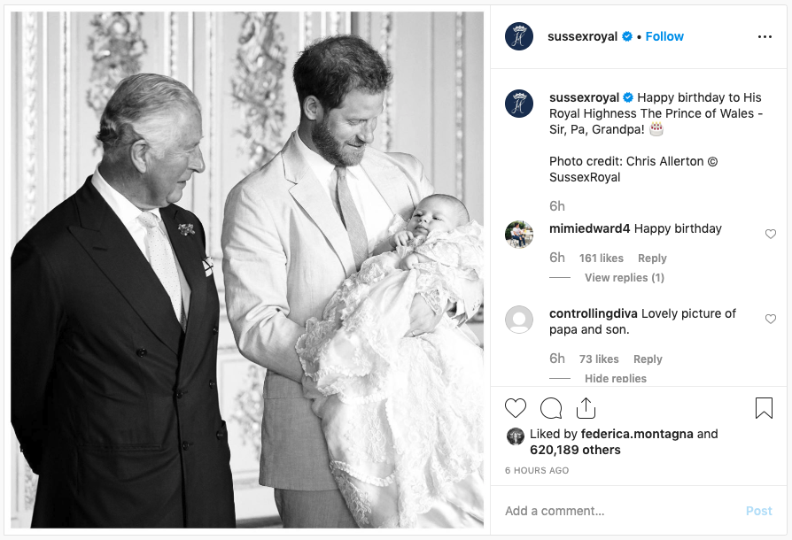 Prince Charles, Prince Harry and baby Archie.
