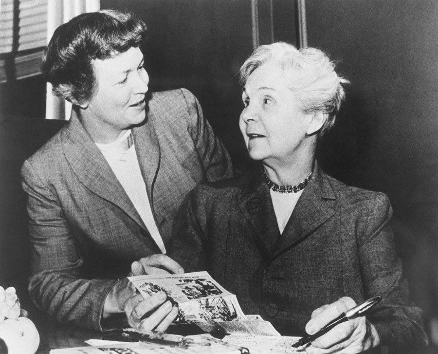 Irma S. Rombauer and her daughter, Marion Rombauer Becker, confer on their famous publication, The Joy of Cooking. Irma produced the first version in 1931 and later brought her daughter into the business.
