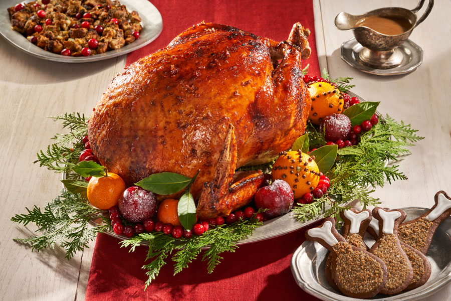 Maple-glazed gingerbread turkey