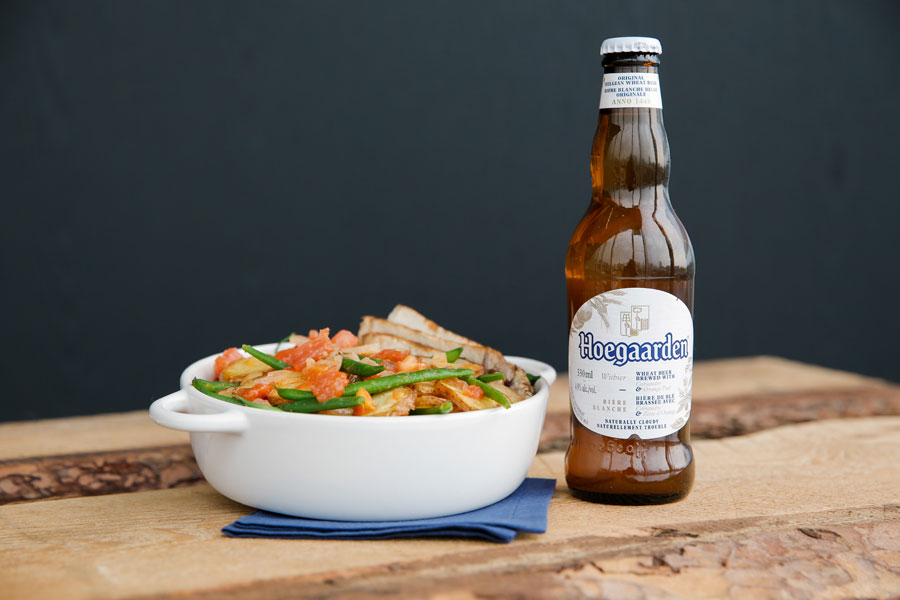 Bean salad paired with Hoegaarden beer