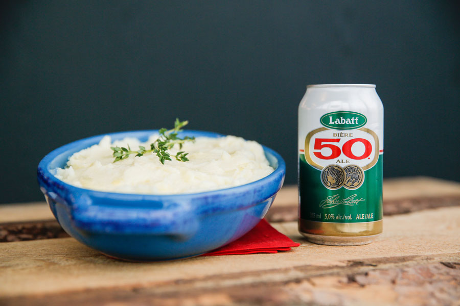 Mashed potatoes paired with Labatt beer