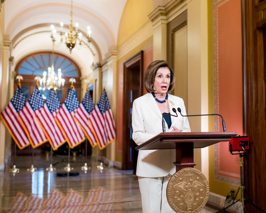 Speaker of the House Nancy Pelosi, D-Calif., announces on the Speakers Balcony in the Capitol that she is calling on the House Judiciary Committee to proceed with articles of impeachment against President Donald Trump.