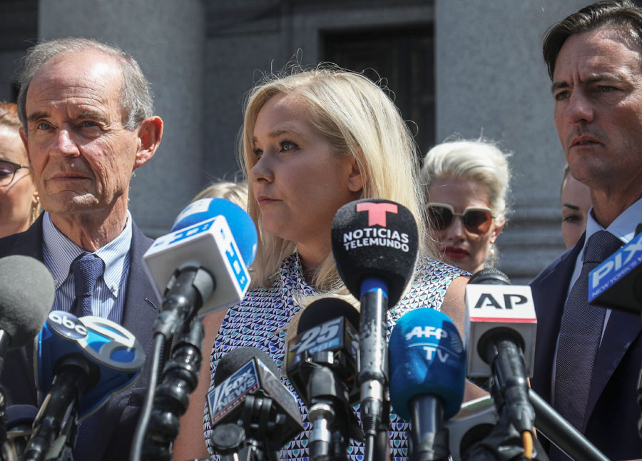 Virginia Roberts Giuffre calls on Prince Andrew to come clean during a news conference outside a Manhattan courthouse, where sexual assault claiments in the Jefferey Epstein case were invited to speak following the convicted following the convicted sex trafficker's jailhouse death.