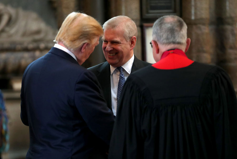 On a 2019 state visit to England, U.S. President Donald Trump and Prince Andrew, Duke of York share a laugh at Westminster Abbey, part of a three-day trip that included lunch with the Queen, a State Banquet at Buckingham Palace, and business meetings with the Prime Minister and the Duke of York.