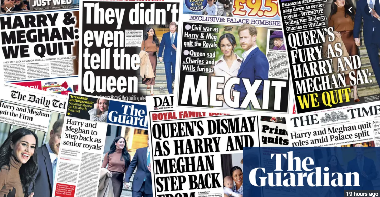 British Newspaper covers, Meghan Markle, Prince Harry, Quitting Royal family