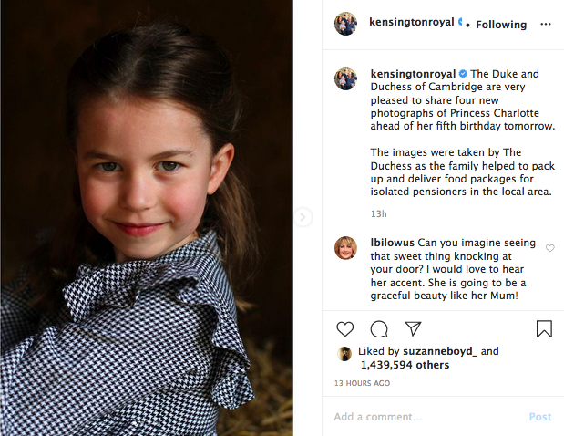 Princess Charlotte turns 5, Instagram photo