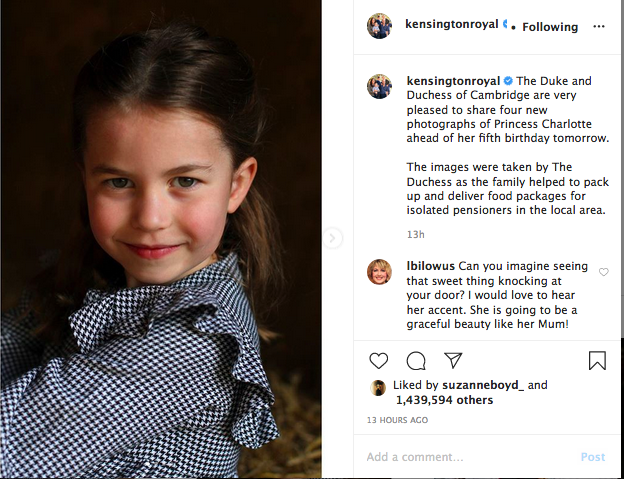 Princess Charlotte turns 5, Instagram photo
