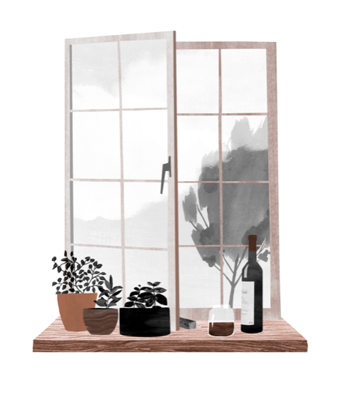open window with plants and wine bottles