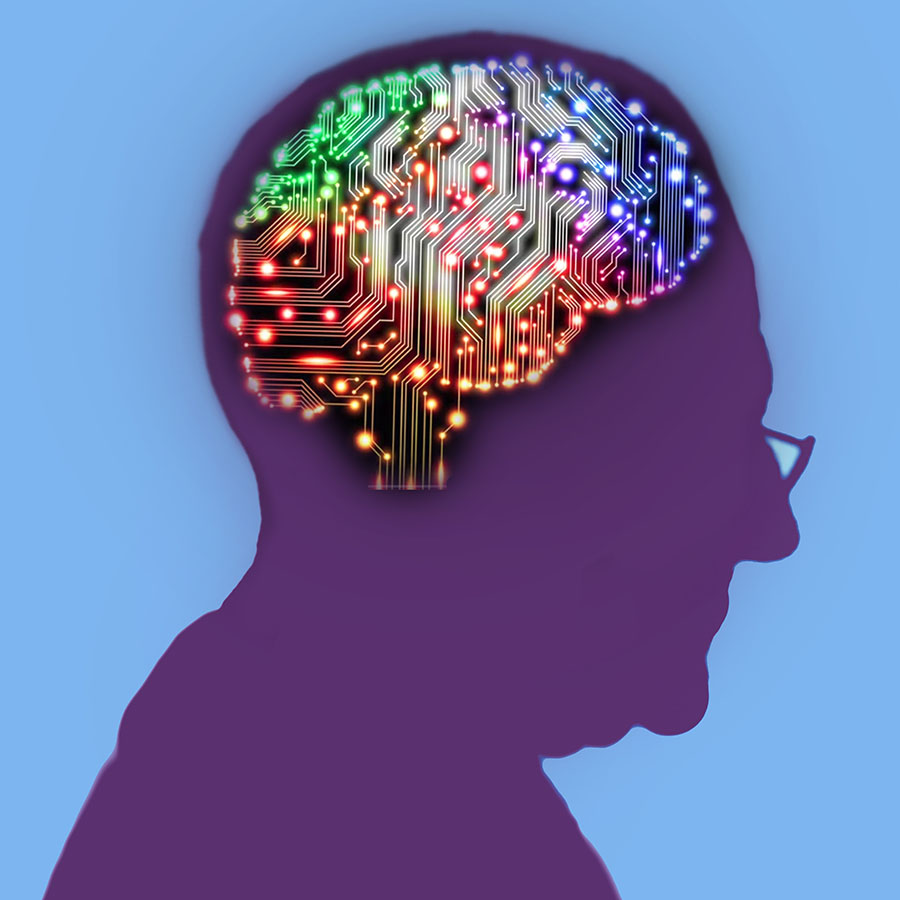 Profile of elderly man with an electric circuit brain lit up inside his head (Photo, Fanatic Studio / Gary Waters)