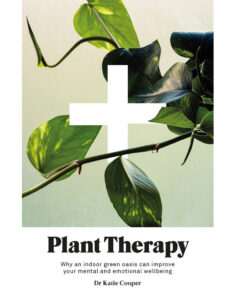 White book cover - close up image of green leaves on a vine, with a graphic white cross/hospital symbol.