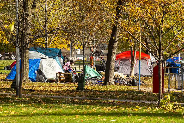 Homeless camp as seen at Alexandra Park in Toronto on November 6, 2020.