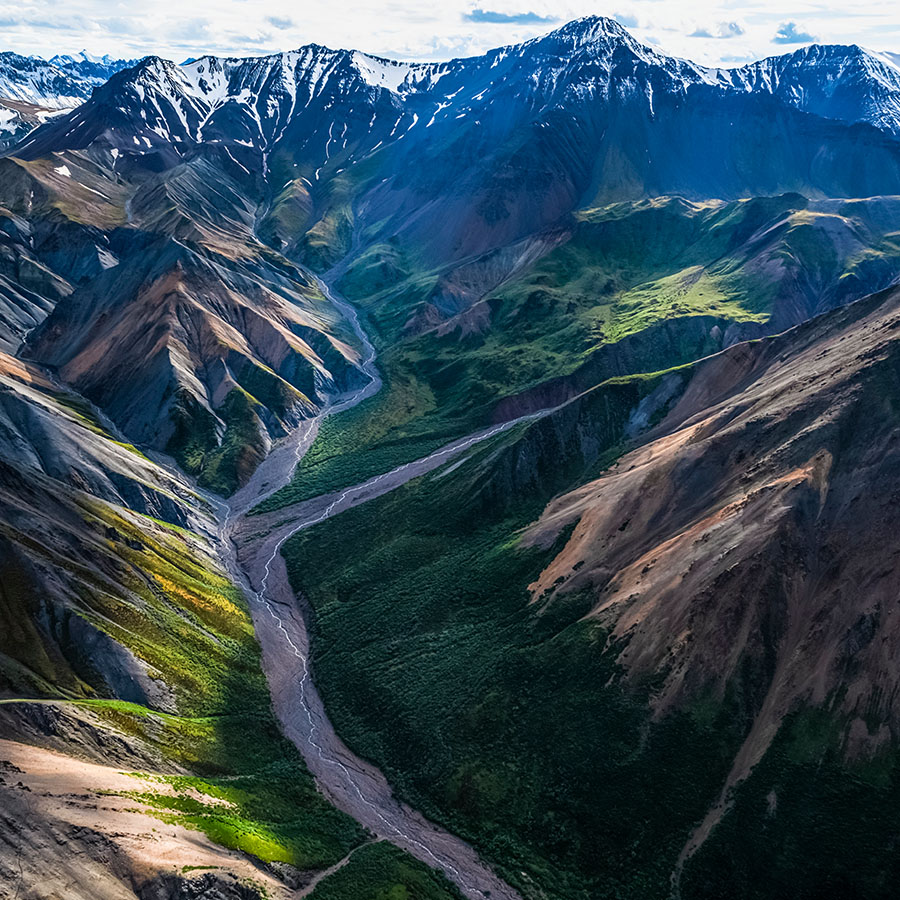 The mountains of Kluane National Park and Reserve seen from an aerial perspective.