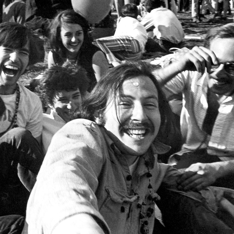 Black and white nostslgic image of Hank Berman, Alan Binstock, Jerry Bayer and Ken Wolman trippin' out on acid in Central Park, in April, 1967 in New York, New York.