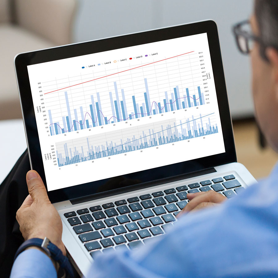 Businessman looking Financial Charts on laptop.