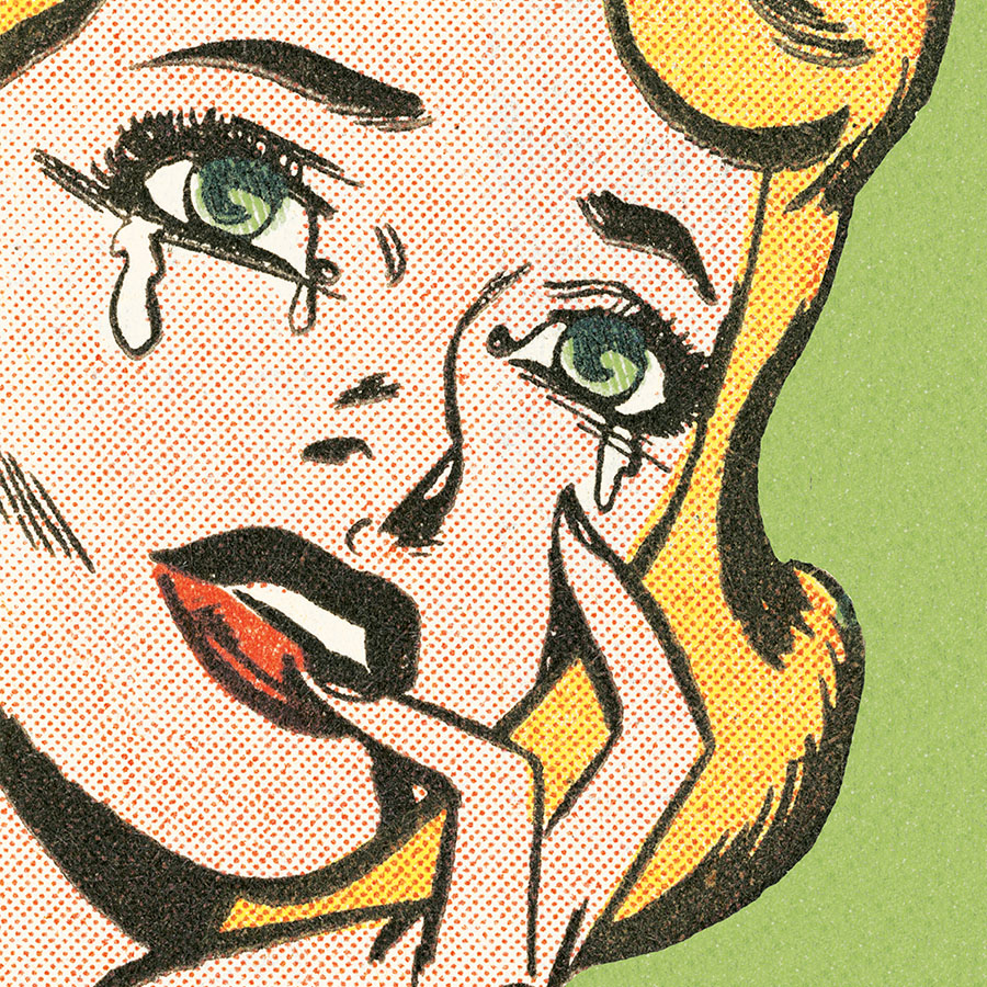 Blond woman crying in pop art style.