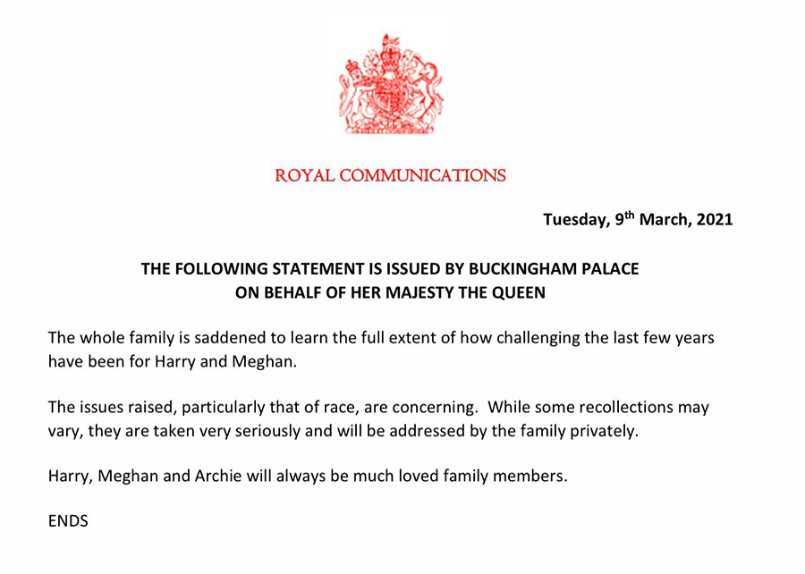 Royal statement