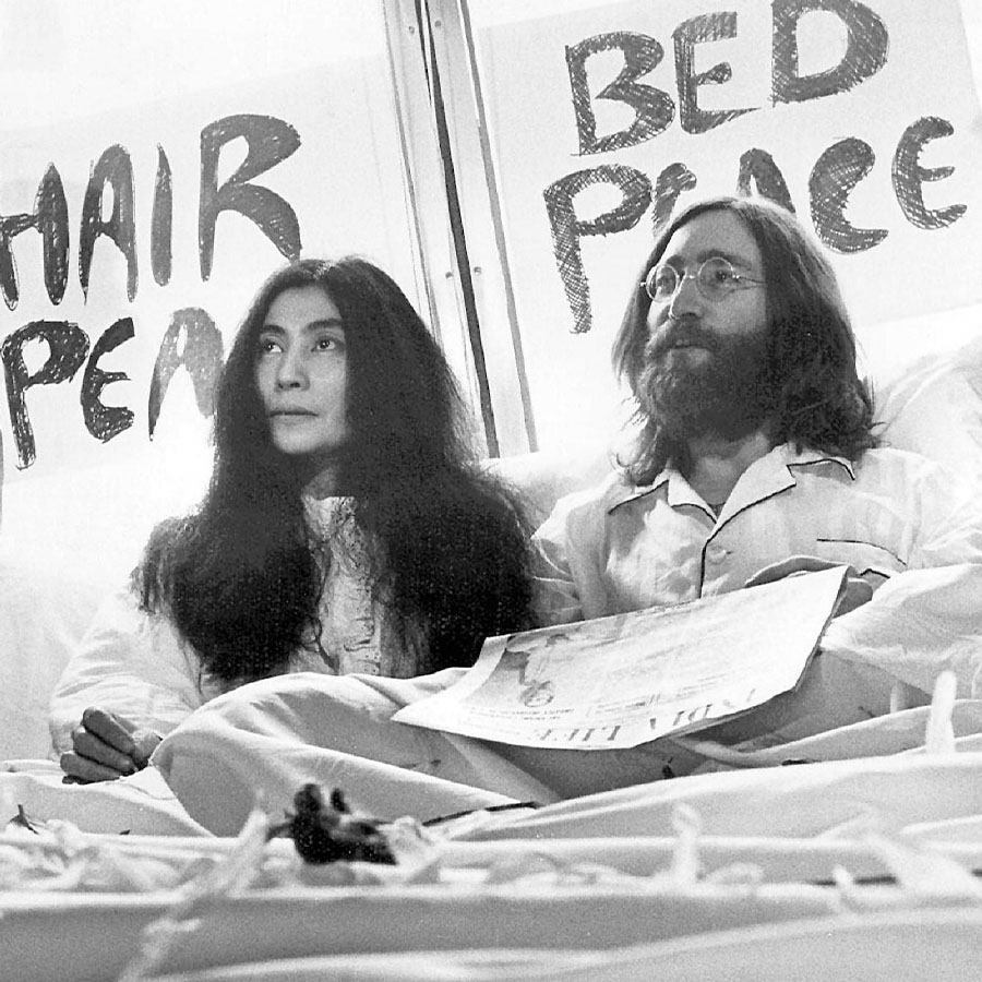 """WATCH: Never-Before-Seen 1969 Video of John Lennon and Yoko Ono Rehearsing  """"Give Peace a Chance"""" - Everything Zoomer"""