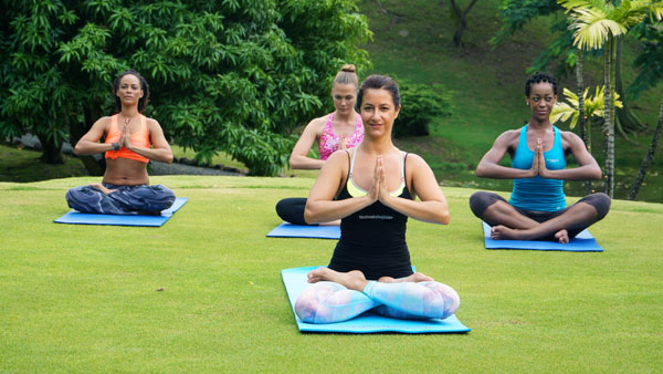 Body & Soul Introduction to Ayurveda: Yoga with Instructor Lily and Participants in Coubaryl Valley